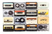 Vintage Cassette Tape Isolated White Background. Object. Close Up. Macro Photography poster