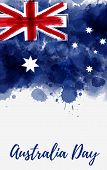 Happy Australia Day. Holiday Background With Grunge Watercolor Painted Australia Flag. Template For  poster