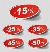 Vector illustration of sale percents stickers