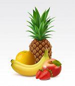Ripe pineapple, orange, bananas, apple and strawberries