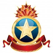 vector golden star on the blue medallion and blank cinema banner
