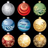 nine vector different christmas balls