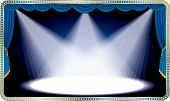 vector blue horizontal stage with three white spot light