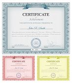 Vector illustration of multicolored detailed certificates