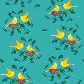 Hand Drawn Birds Seamless Pattern. Birdfiding Cartoon Design Element. Template Background For Textil poster