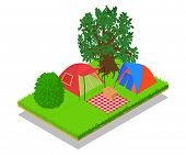 Expedition Concept Banner. Isometric Banner Of Expedition Vector Concept For Web, Giftcard And Postc poster