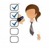 Businesswoman filling a checklist