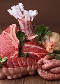 image of charcuterie  - raw meats and parsley - JPG