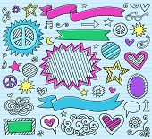 Conjunto de elementos de Design psicodélico marcador retintos Notebook Doodle em background de papel de caderno forrado azul
