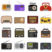 Radio Icons Set. Flat Set Of Radio Vector Icons For Web Design poster