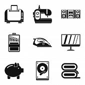 Household Appliances Icons Set. Simple Set Of 9 Household Appliances Icons For Web Isolated On White poster