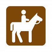 Brown Horseback Riding Recreational Sign With A White Background poster