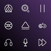 Multimedia Icons Line Style Set With Microphone, Eject, Web Cam And Other Next Elements. Isolated  I poster