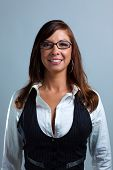Business Woman In Glasses Smiling