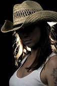 Mystery Woman In Tanktop And Cowboy Hat