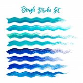 Blue Brush Stroke Waves Vector Set. Hand Drawn Vector Brush Strokes, Ink Splashes, Watercolor Brush, poster