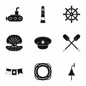 Sea Adventure Icons Set. Simple Style Set Of 9 Sea Adventure Icons For Web Design poster