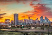 Denver, Colorado, USA downtown city skyline at dawn. poster