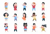Cartoon Children. Boy And Girl School Characters, Set Happy Little Child, Elementary School Group. V poster