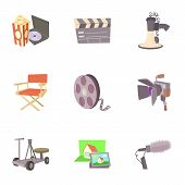Movie Production Icons Set. Cartoon Set Of 9 Movie Production Icons For Web Isolated On White Backgr poster