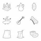 Turkey Icons Set. Outline Set Of 9 Turkey Icons For Web Isolated On White Background poster