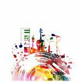 Music Background With Colorful Vinyl Record And Music Instruments Isolated Vector Illustration Desig poster