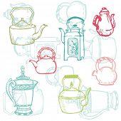 Beautiful Background of Teapot Doodles in vector