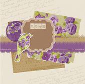 Scrapbook Design Elements - Vintage Viola Flowers in vector