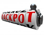 The word Jackpot appears on slot machine wheels illustrating the money payout of a game or form of g