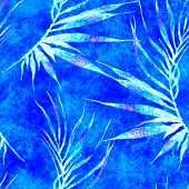 Tropical Seamless Pattern. Watercolor Curved Palm Leaves, Japanese Bamboo. Blue Exotic Swimwear Desi poster