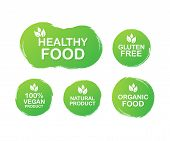 Vector Set Colorful Labels For Food, Nutrition. Collection Icons. Healthy Food, Gluten Free, 100 Veg poster