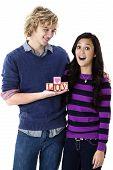 happy teen couple in love