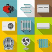 Heating Con Icon Set. Flat Style Set Of 9 Heating Con Icons For Web Design poster