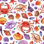 Marine Watercolour Seamless Pattern In Realistic Style On White Background. Marine Underwater Life.  poster