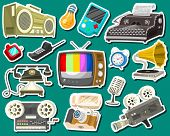 Vintage Devices Icons. Retro Tech Media, Television Tv, Audio Radio Music, Electronic Sound Recorder poster
