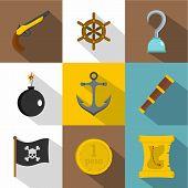 Pirates Adventure Icon Set. Flat Style Set Of 9 Pirates Adventure Icons For Web Design poster