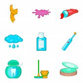 House Personal Hygiene Icon Set. Cartoon Set Of 9 House Personal Hygiene Icons For Web Design Isolat poster