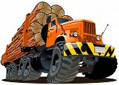 image of logging truck  - Vector cartoon logging truck - JPG