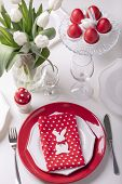 Happy Easter. Decor And Table Setting Of The Easter Table Is A Vase With White Tulips And Dishes Of  poster