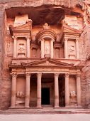 The ancient Treasury, el-Khazneh, Petra, Jordan. The city of Petra was lost for over 1000 years and is now one of the new Seven Wonders of the World.
