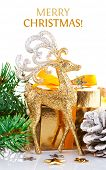 gold deer with branch firtree and gift isolated on white background