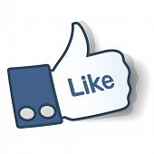 Like sign. Thumbs up symbol from paper used in social networks. Vector eps10 illustration