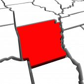 A red abstract state map of Arkansas, a 3D render symbolizing targeting the state to find its outlines and borders