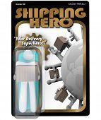 A ação do herói de transporte figura entregador embarcador e recebimento do pacote