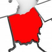 A red abstract state map of Ohio, a 3D render symbolizing targeting the state to find its outlines a