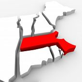 A red abstract state map of Massachusetts, a 3D render symbolizing targeting the state to find its o