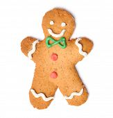 stock photo of ginger man  - Christmas gingerbread man cookie isolated on white - JPG
