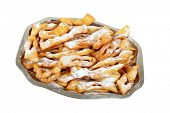 Polish fried cakes are sweet crispy, made out of dough that has been shaped into thin twisted ribbon