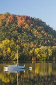 pic of winona  - Fall color trees and a reflective lake with a sailboat - JPG