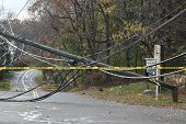 GREENWiCH, CT - NOVEMBER 02:  Broken electrical pole on Lake Avenue near Exit 28 on the Merritt Park